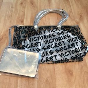 Clear Victoria's Secret Tote with zipper bag
